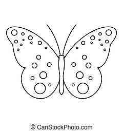 Butterfly with spot icon, outline style - Butterfly with...