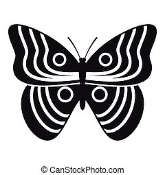 Stripped butterfly icon, simple style - Stripped butterfly...