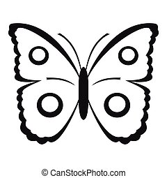 Butterfly peacock eye icon, simple style - Butterfly peacock...