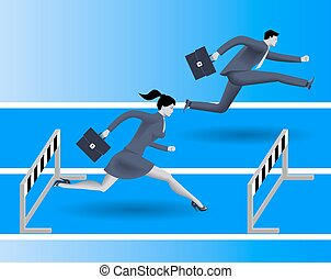 Gender inequality on career path business concept, Business...