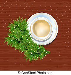 cup of coffee and fir twigs on a wooden texture with sparkles