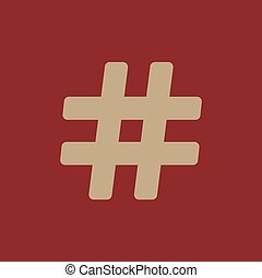 The hash icon. Hashtag symbol. Flat