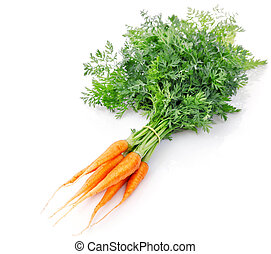 fresh carrot fruits with green leaves isolated on white...