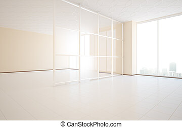 Unfurnished room side - Bright unfurnished beige room design...