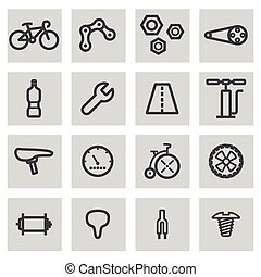 Vector black line bicycle icons set