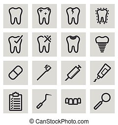 Vector black line dental icons set