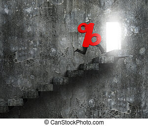 Red percentage sign with human legs running on stairs - 3D...