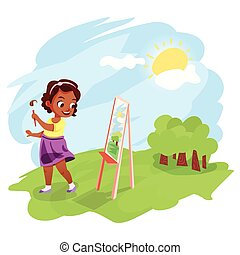 African american girl painting outdoors - Cute little...