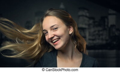 Young Blonde Girl Smiling