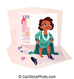 African american girl wearing moms clothes - Little african...