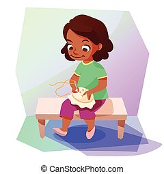 African american girl doing a cross stitching - Cute little...