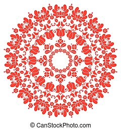 Kalocsai red floral embroidery - Vector background -...