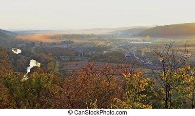 Landscape in autumn mountains.