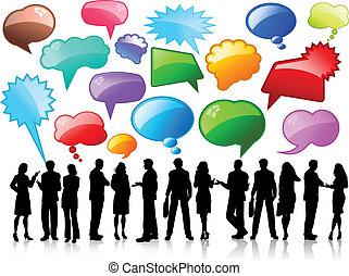 negócio, conversações