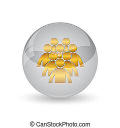 Group of people icon. Internet button on white background.
