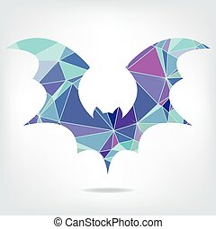 Halloween flying bat silhouettes made of triangles