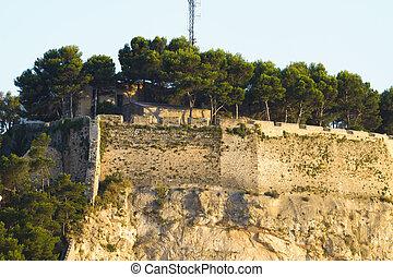 Arabic castle in Denia Spain, view from port - Arabic castle...