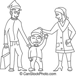 Cute and happy family in santa hat, the father with a package of gifts, smiling son  mother in the style  cartoon