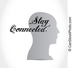 stay connected thinking brain sign illustration design...