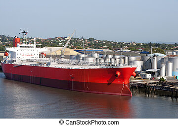 Brisbane: tanker in port. - Oil tanker in the proces of...