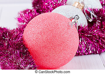 Christmas card with balls and garlands - Christmas card with...