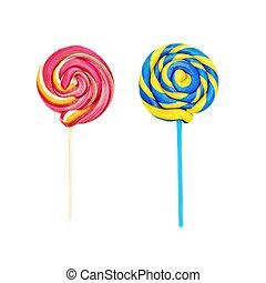 colorido, lollipops