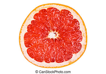Cut grapefruit isolated on white background - Cut, red...