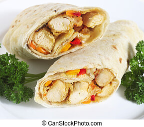 Chicken fajitas - Chicken fajita sandwiches, wrapped in a...