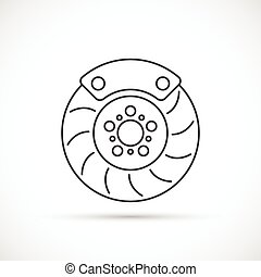 Brake disc outline icon. Car repair service concept