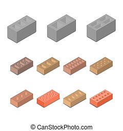 Set isometric icon construction materials, vector...