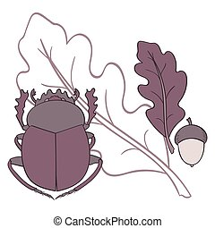 Scarab. Oak leaf and acorn.  Vector illustration.