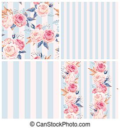 Shabby chic patterns - Shabby chic vector seamless patterns...