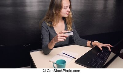 Girl Making Online Payment with Credit Card