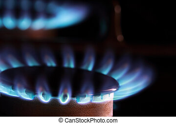 Natural Gas Flames - Close up of blue flames from gas...