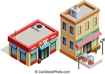 Restaurant Buildings Composition - Restaurant buildings...