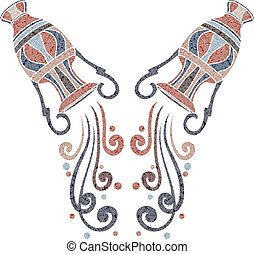 Bright amphora, zodiac Aquarius sign - Bright patterned...