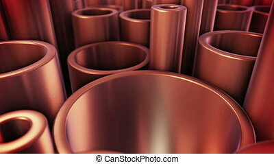 """Stack of copper tubes. Industry Concept."" - ""3D rendering..."