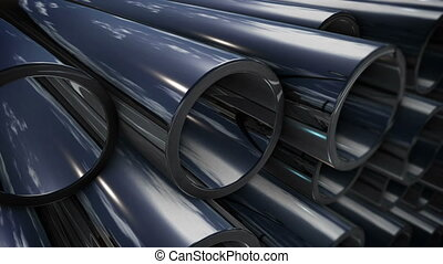 """Steel tubes"" - ""Steel tubes stack with reflection"""