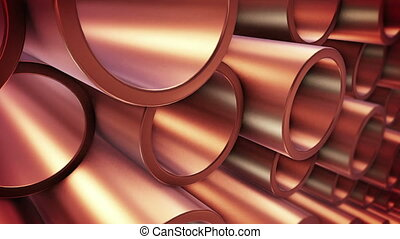 """ Copper pipes"" - ""3D rendering of Copper pipes on..."