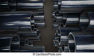 """Metal tubes stack with reflection"" - ""3d rendering of Metal..."