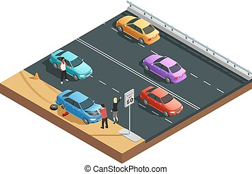 Car Accidents Composition - Car accidents isometric...