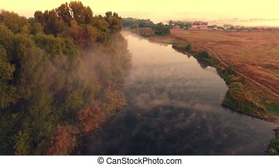 Aerial View. Flying over the beautiful summer River. Aerial...