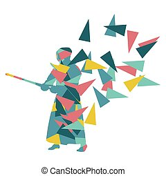 Kendo fighter vector background abstract illustration concept made with polygon fragments