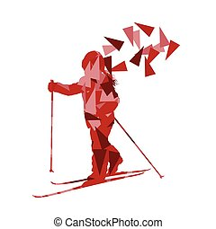 Skiing kid skier vector background abstract illustration concept made of polygon fragments ...