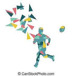 Male rugby player man abstract vector background made of polygon fragments