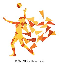 Volleyball player woman silhouette made of polygon fragments vector background concept