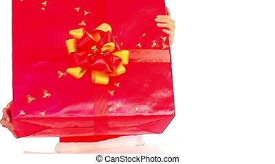 Human hands put group of colour Christmas gift box. - Girl...