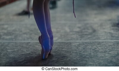 legs of ballerina - Feet of ballerina in Pointe...