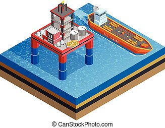 OIl Industry Offshore Platform Isometric Image - Offshore...