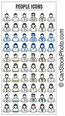 icons People male female vector color black blue Yellow green on white background
